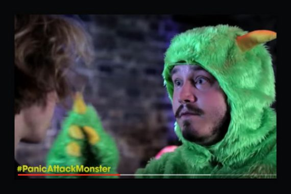 Youtube clip screenshot of the panic attack monster