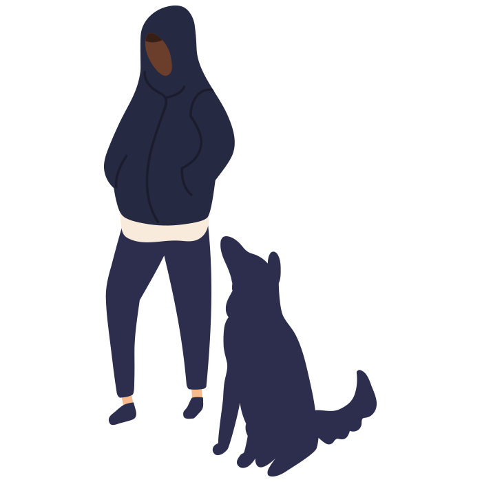 Illustration of a boy with hood over his head looking down, black dog sat next to him