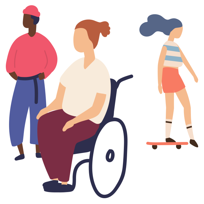Illustration of a man stood up, a woman in a wheelchair and a girl on a skateboard