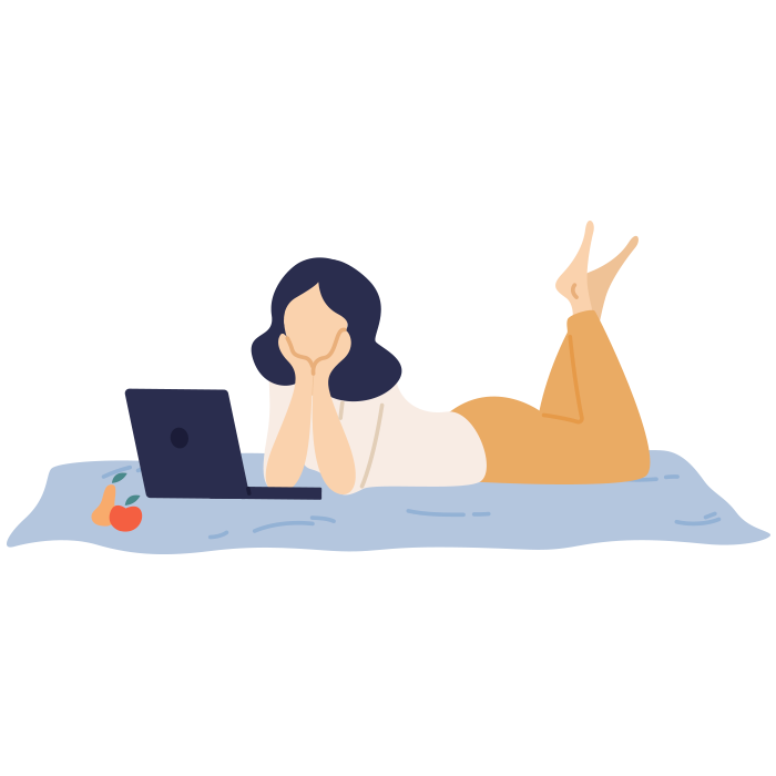 Illustration of girl laying on rug looking at laptop