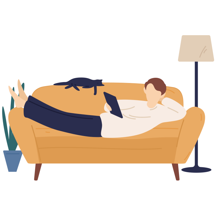 Illustration of person laying on sofa looking at tablet