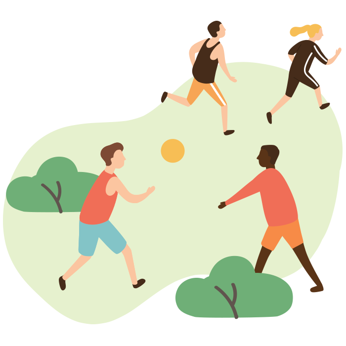 Illustration of two people throwing a ball to one another, two people running