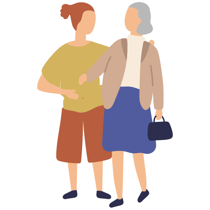 Illustration of younger woman holding an elderly woman