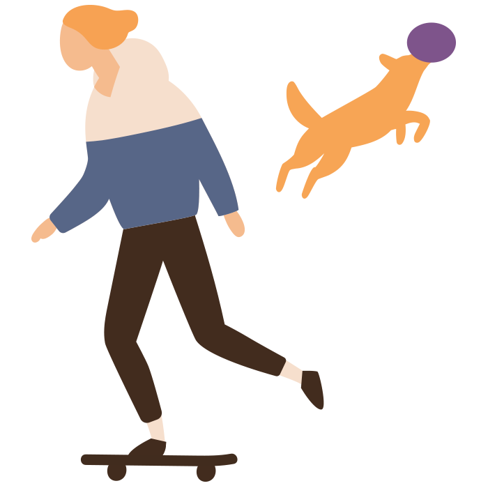 Illustration of person on skateboard and dog catching a frisbee