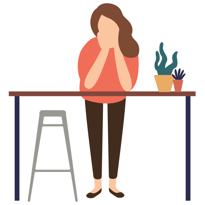 Illustration of woman leaning forwards on a table
