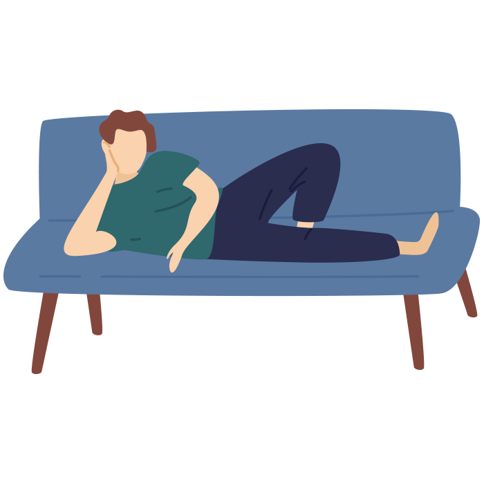 Illustration of a man lying on a sofa