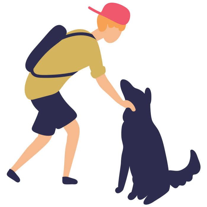 Illustration of young teen patting a dog