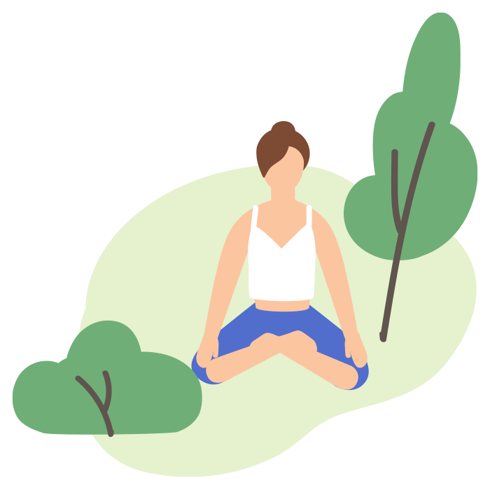 Illustration of woman sat on grass meditating