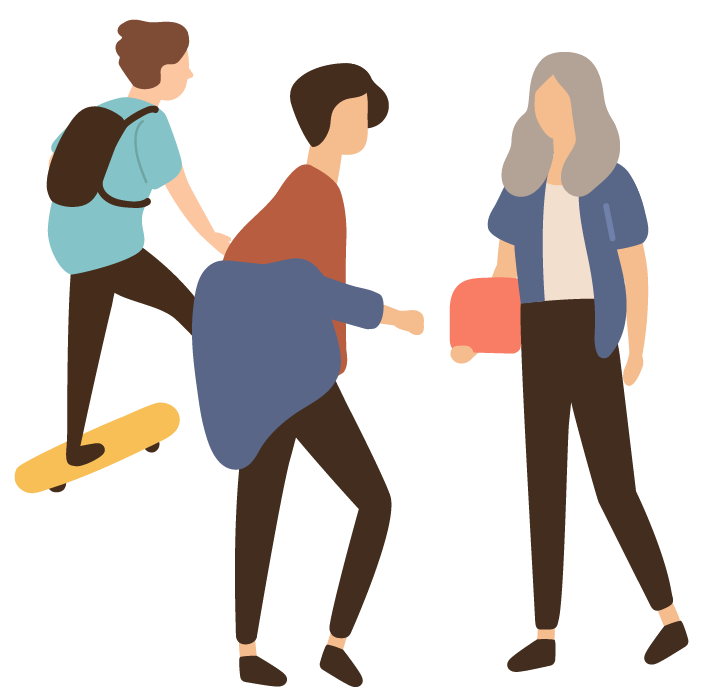 Illustration of three young people, one on a skateboard and the other two having a conversation