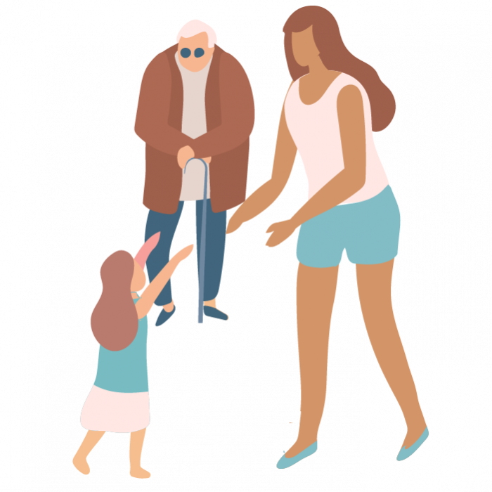 Illustration of a young girl, woman, and elderly man with a walking stick