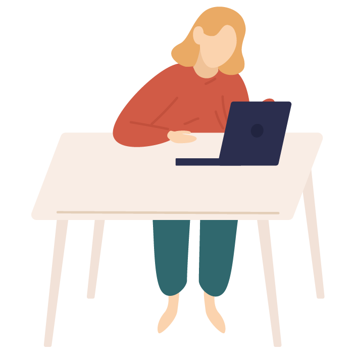 Illustration of woman sat at table, looking at laptop