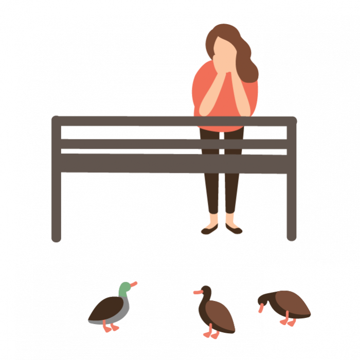Illustration of a woman leaning forwards on bench, watching some ducks