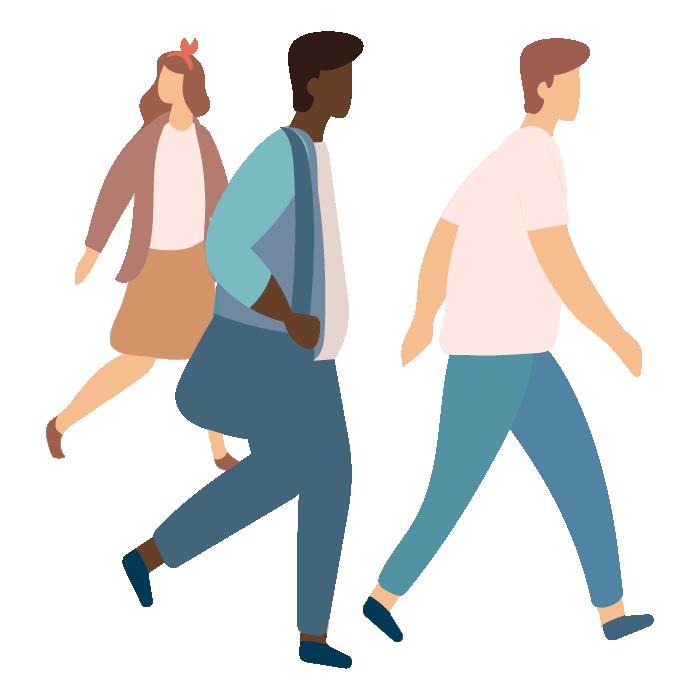 Illustration of 3 people walking