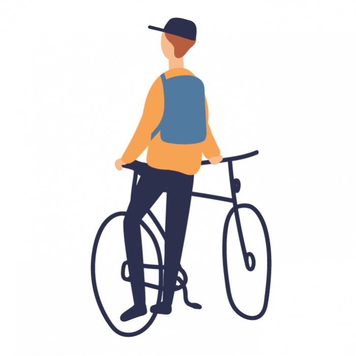 Illustration of boy with bike