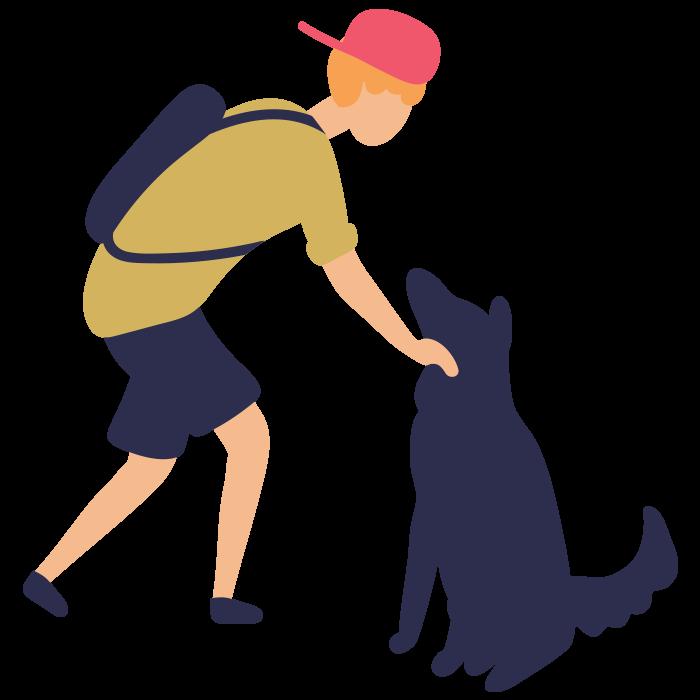 Illustration of boy patting a dog