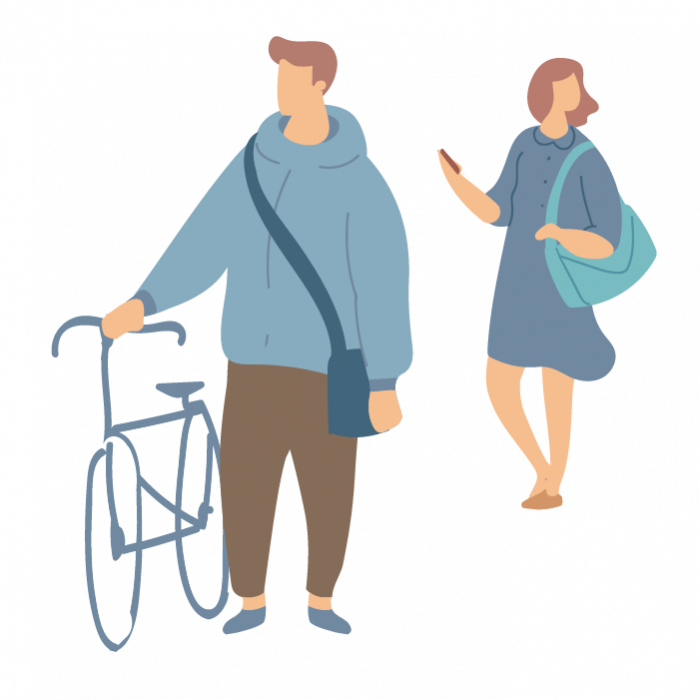 Illustration of a man with bike and woman holding her phone