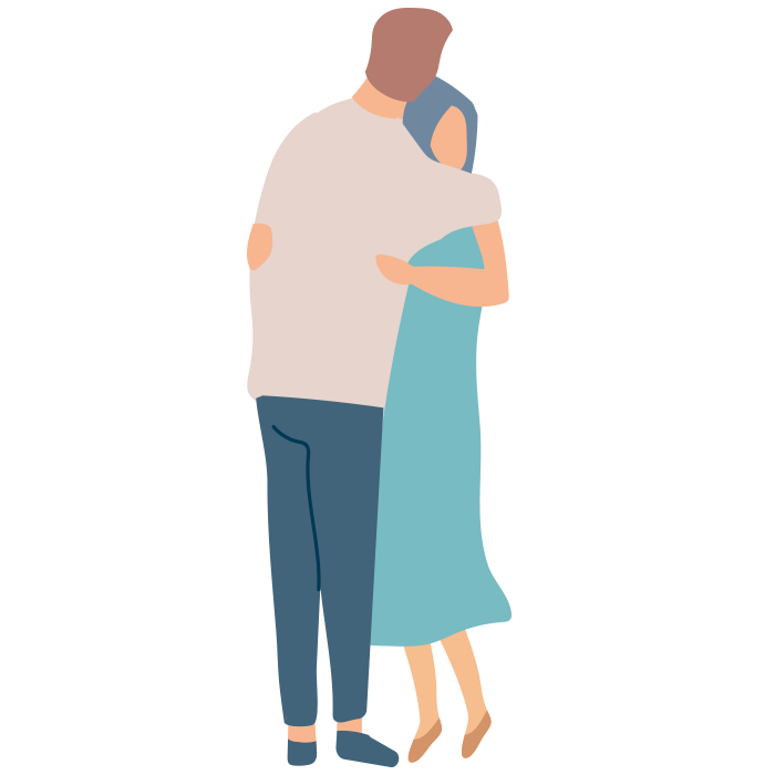 Illustration of man and woman hugging