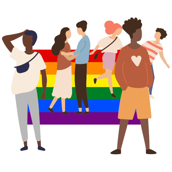 Illustration of a group of people with rainbow flag in the background