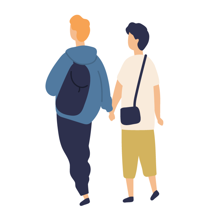 Illustration of two people holding hands